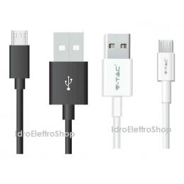 V-TAC cavo dati ricarica Silver Series USB MICRO USB 1 mt VT-5321 sku 8484 8485